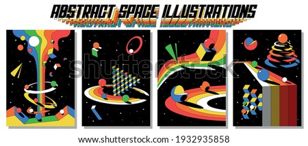 Abstract Space Illustrations, Psychedelic Background Set, 3D Geometric Shapes
