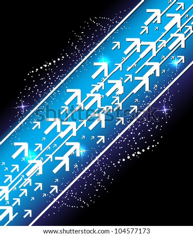 abstract space technology lines and arrows on dark background