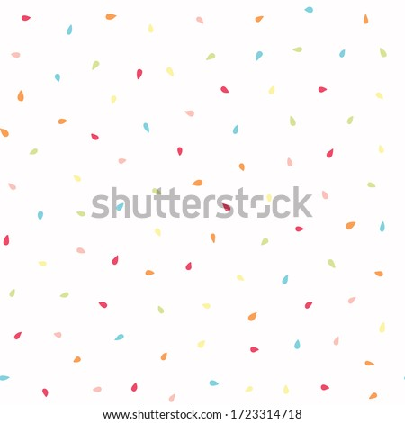 Abstract sparse raindrop confetti. Vector pattern seamless background. Hand drawn tiny falling drops. Summer party celebration illustration. Trendy home decor, kid print, birthday scrapbook paper.