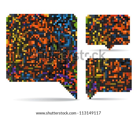 Abstract speech clouds collection of color mosaic elements