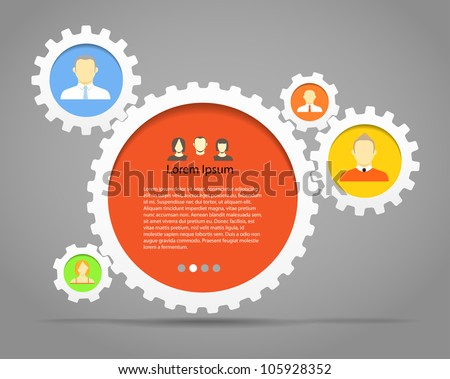 Abstract speech clouds of gear wheels with person icons. Template for a text