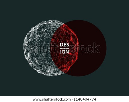 Abstract sphere. Array with dynamic particles. Modern science and technology element. Vector illustration.