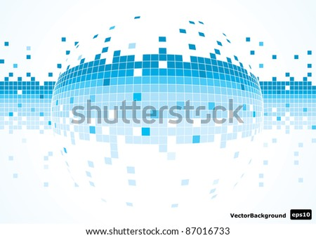 abstract sphere made of pixels vector illustration eps 10