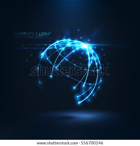 Stock Photo Abstract sphere shape of glowing circles and particles with lens flare effect . Global Network connection visualization . Futuristic earth globe . 3d planet concept .Science and technology background