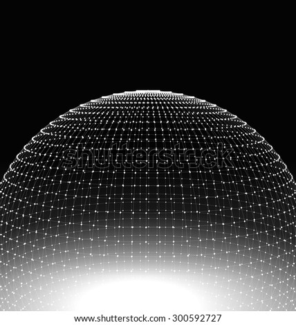 Abstract Sphere Surface Wireframe Polygonal Lines and Dots. Futuristic Technology Style - Vector #300592727