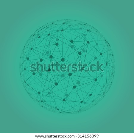Abstract sphere vector illustration on teal background.