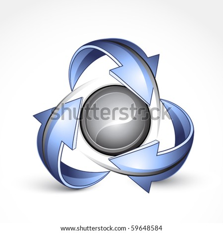 Abstract sphere with arrows. Business logo