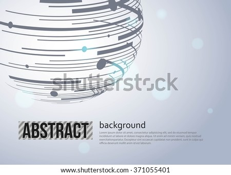 Abstract  Sphere with connected lines and dots. Vector illustration