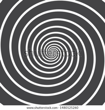 Abstract Spiral Background. Four Black Thick Spirals Thinning Towards the Center on a White Background. Monochrome Vector Illustration