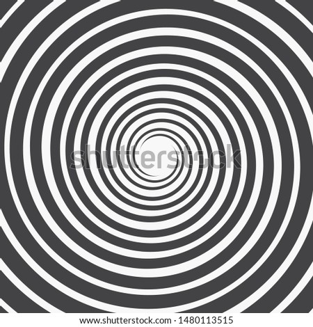 Abstract Spiral Background. Three Black Spirals Thinning Towards the Center on a White Background. Monochrome Vector Illustration