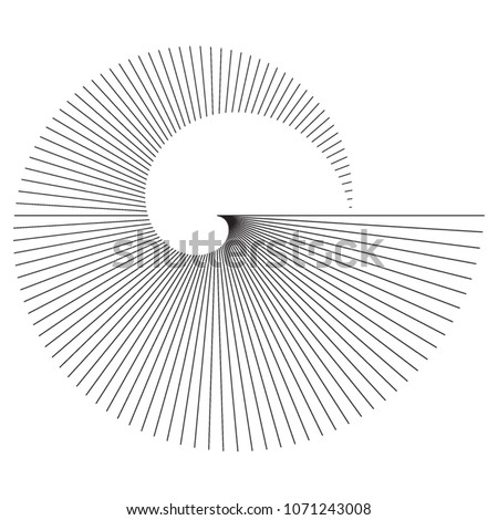 Abstract spiral black white design element on white background of twist lines. Vector Illustration eps 10 for elegant business card, print brochure, flyer, banners, cover book, label, fabric