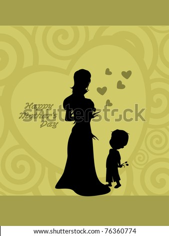 abstract spiral pattern background with cute child holding flower for mom