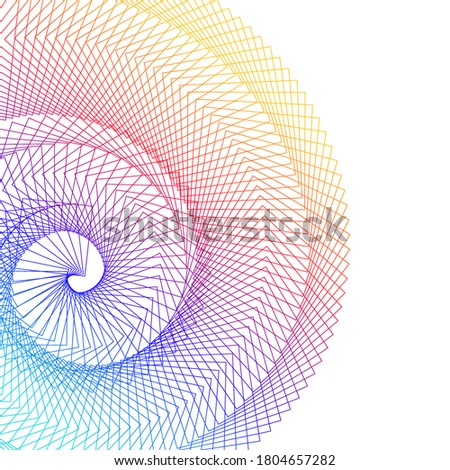 Abstract spiral rainbow design element on white background of twist lines. Vector Illustration eps 10 Golden ratio traditional proportions vector icon Fibonacci spiral. for elegant business card