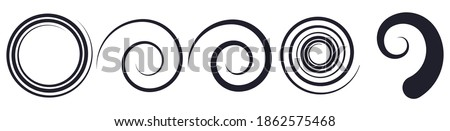 Abstract spiral, twist. Radial swirl, twirl curvy lines element. Circular, concentric loop-hook. Revolved whirl design shape, Whirlwind, whirlpool illustration. Radiating volute, whirligig, curlicue Stock photo ©