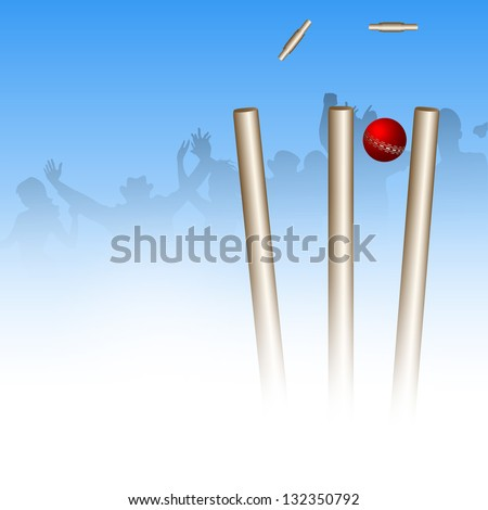 Abstract sports concept with cricket ball on wicket stumps..