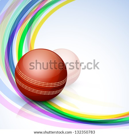 Abstract sports concept with shiny cricket ball on wave background.