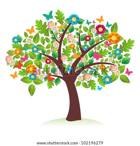 Abstract spring time tree composition with flowers vector file