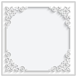 Abstract square lace frame with paper swirls, vector ornamental background, eps10