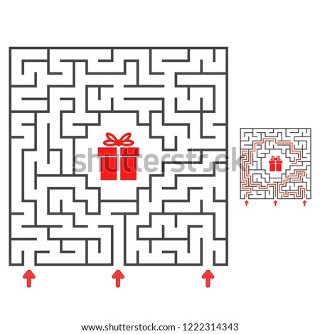Abstract square maze. Find the path to the gift. Game for kids. Puzzle for children. Labyrinth conundrum. Flat vector illustration isolated on white background. With answer