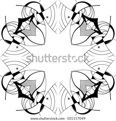 Abstract square ornamental pattern in black and white colors