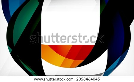 Abstract square shape with overlapping waves, minimal geometric background. Vector Illustration For Wallpaper, Banner, Background, Landing Page