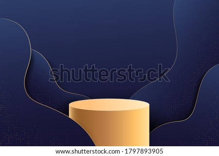 Abstract stage for awards in modern. Background vector rendering with gold podium and dark blue with glitter wall scene, curve black background 3d rendering geometric shape blue color. Vector EPS10