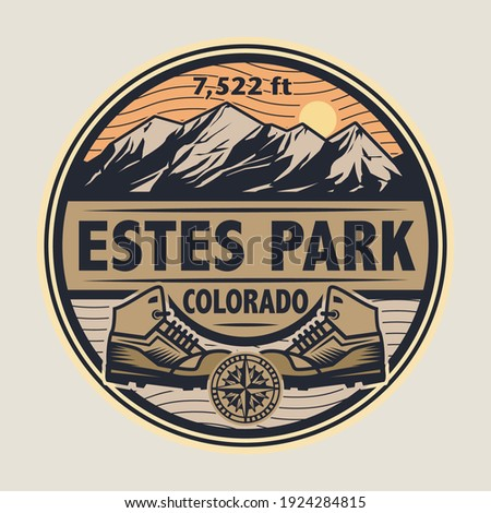 Abstract stamp or emblem with the name of Estes Park, Colorado, vector illustration Foto d'archivio ©