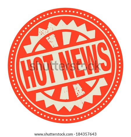 Abstract stamp or label with the text Hot News written inside, vector illustration