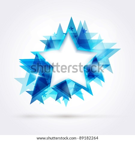 Abstract star background. Overlying star shapes in blue shades with space for your text. EPS10