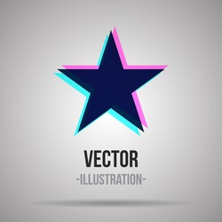 Abstract star icon with three colors. Vector illustration