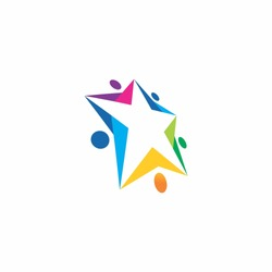 abstract star people teamwork logo