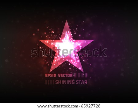 Abstract star shining brightly on purple background.