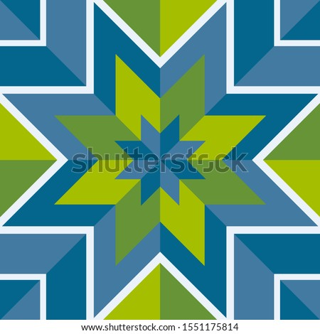 abstract stars formed by blue and green polygons with white strokes, rhombuses and squares, arranged in rows and form a bright colorful ornament. polygonal seamless pattern. vector