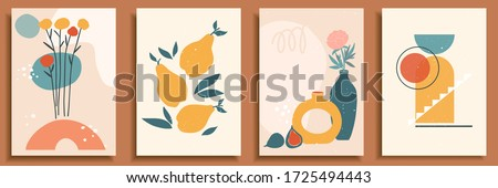 Abstract still life in pastel colors. Collection of contemporary art. Abstract geometrical elements, shapes for social media, posters, postcards, print. Hand drawn vase, leaves, flowers, fruits, pear.