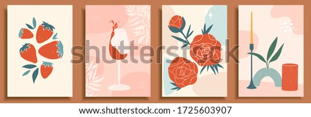 Abstract still life in pastel colors. Collection of contemporary art. Abstract paper cut elements, shapes for social media, posters. Hand drawn vase, candle, leaves, flowers, fruits, strawberry, glass