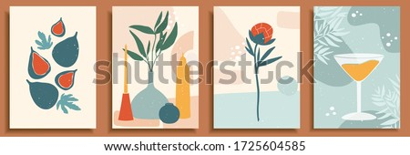 Abstract still life in pastel colors. Collection of contemporary art. Abstract paper cut elements, shapes for social media, posters. Hand drawn vase, candle, leaves, flowers, fruits, fig, glass, peony
