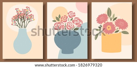 Abstract still life in pastel colors. Collection of contemporary art. Abstract paper cut elements, flowers for social media, posters, postcards, print. Hand drawn pot, vase, flowers vector set.