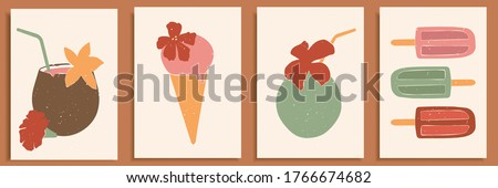 Abstract still life in pastel colors poster. Collection of contemporary art. Abstract elements, fruits, ice cream, nuts for social media, postcards, print. Hand drawn coconut coctail, ice cream.