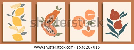 Abstract still life in pastel colors posters. Collection of contemporary art. Abstract paper cut elements, fruits for social media, postcards, print. Hand drawn apricot, pomegranate, lemons.