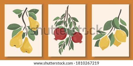 Abstract still life in pastel colors posters. Collection of contemporary art. Abstract paper cut elements, fruits and berries for social media, postcards, print. Hand drawn pear, pomegranate, lemon.
