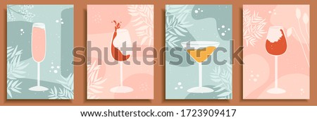 Abstract still life in pastel colors posters. Collection of contemporary art. Elements and shapes for social media, postcards, print. Hand drawn glasses, wine, drops, champagne, alcohol, cocktail.