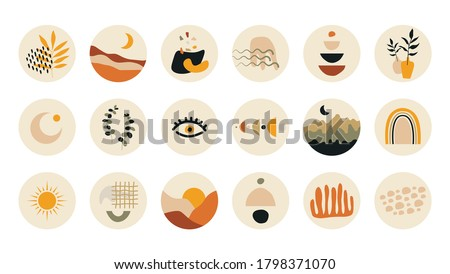 Abstract story highlight cover. Hand drawn shapes doodle set boho contemporary style. Vector round social media stories for bloggers. Foto stock ©