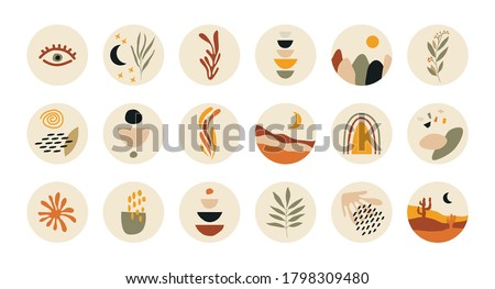 Abstract story highlight cover. Social media stories round icons, art design for blog contemporary boho style. Vector illustration. Photo stock ©