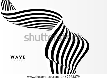 Abstract stripe wave with black and white line. Backdrop geometric bent ribbon for banner, poster, cover, web. Creative wave line 3d optical op art for dynamic design. Vector illustration.