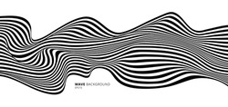 Abstract stripes black and white optical art wave line background. Vector illustration
