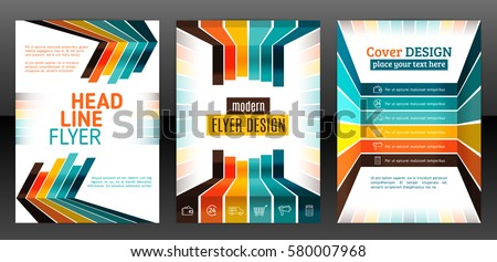 Abstract stripes vector brochure template. Flyer with lines, stripes motion and dynamics. Cover layout with flat style. Infographic elements and icons. Modern design for posters and banner. Vector eps