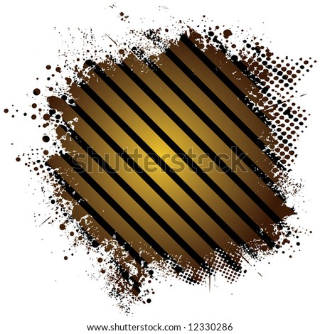 Abstract stripped golden background with half tone dot