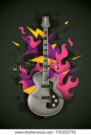 Abstract style composition, made of geometric objects, fire and classic electric guitar. Vector illustration.
