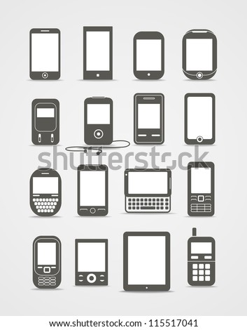 Abstract style modern and vintage mobile gadgets - stock vector