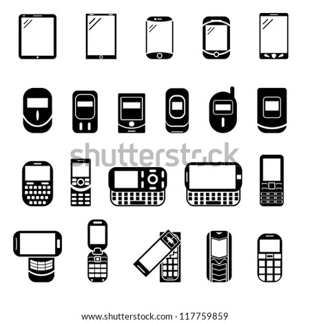 Abstract style modern and vintage mobile gadgets. Black phone icons. Different icons with phone.